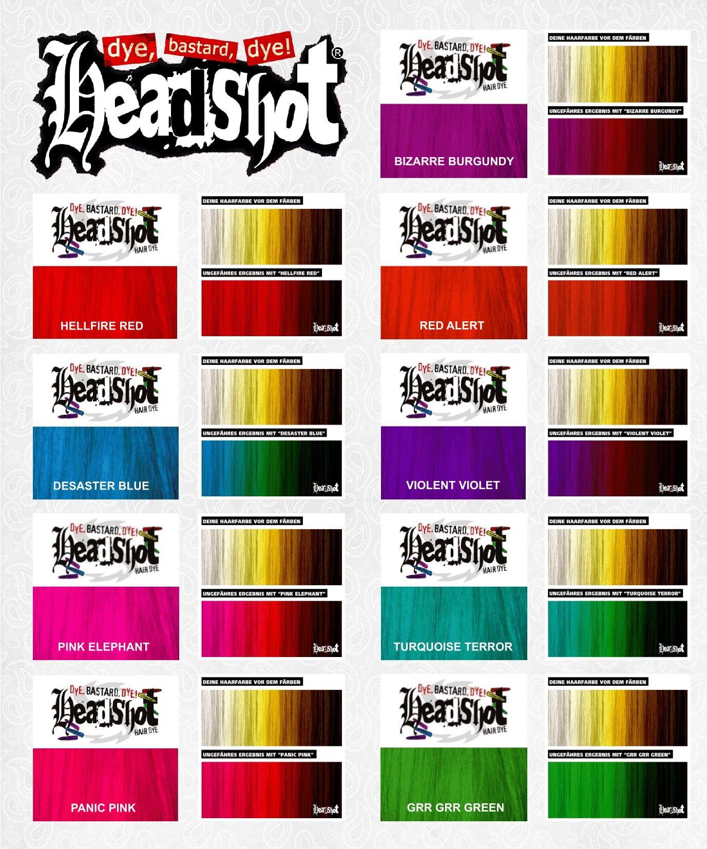 Vzorník barev na vlasy Headshot