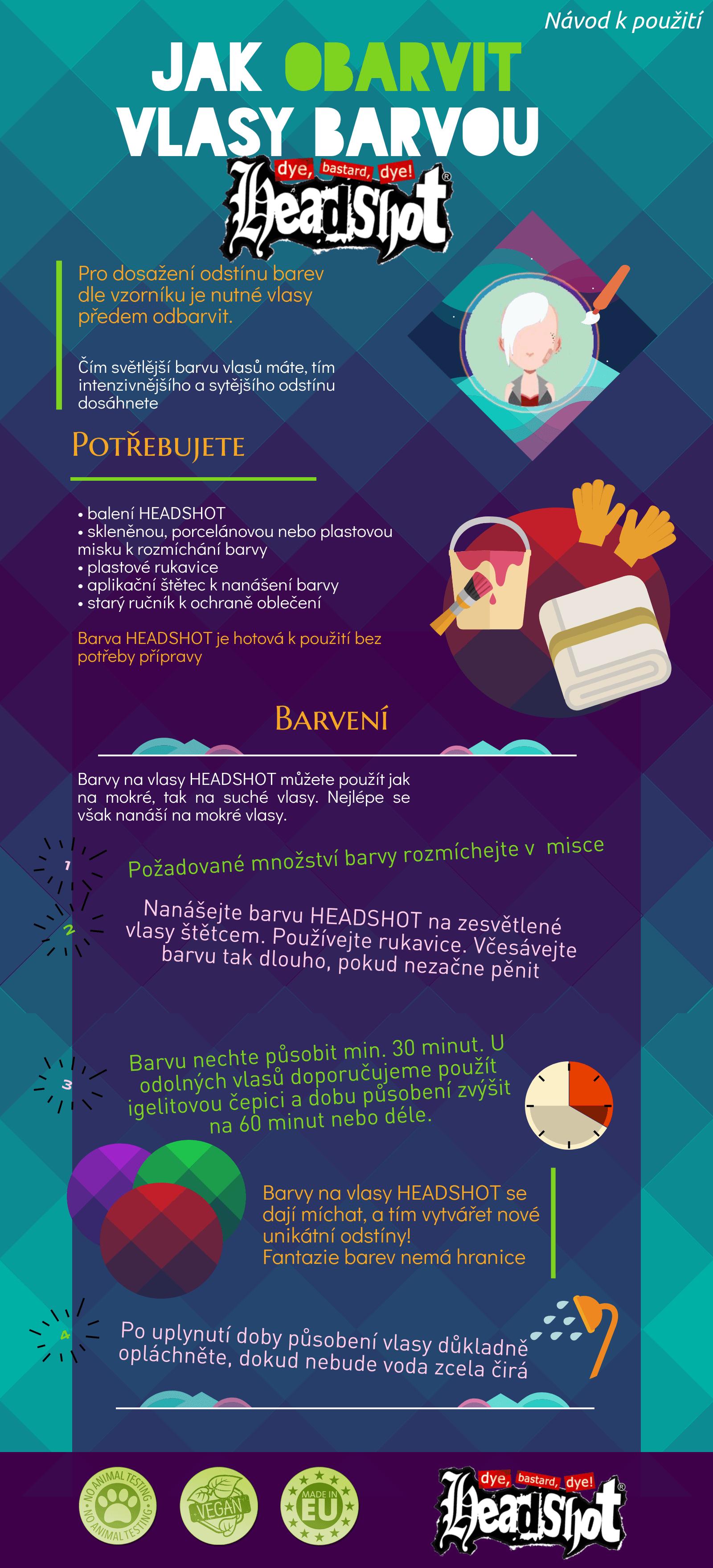 infografika headshot barvy na vlasy návod k použití